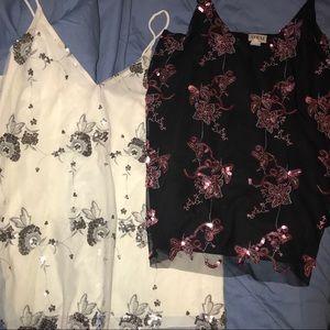 Bundle of 2 sequins on mesh plus size camisoles 3X
